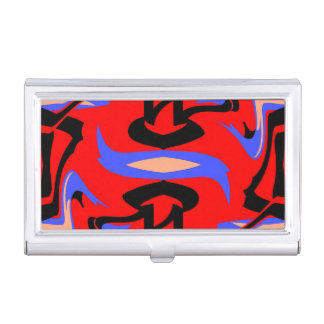 Festive Red Native Indian and Japanese Art Blend Business Card Holder