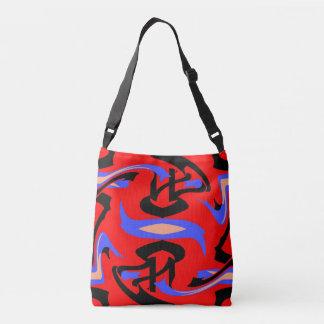 Festive Red Native Indian and Japanese Art Blend Crossbody Bag