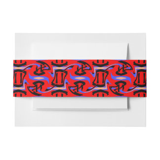 Festive Red Native Indian and Japanese Art Blend Invitation Belly Band