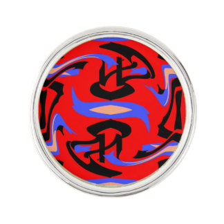 Festive Red Native Indian and Japanese Art Blend Lapel Pin