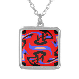 Festive Red Native Indian and Japanese Art Blend Silver Plated Necklace