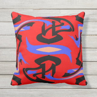 Festive Red Native Indian and Japanese Art Blend Throw Pillow