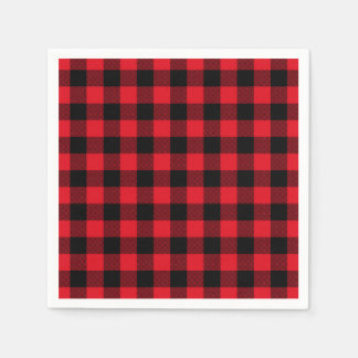 Festive Red Plaid Pattern Holiday Disposable Napkins