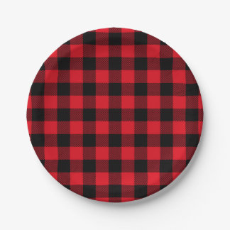 Festive Red Plaid Pattern Holiday Paper Plate
