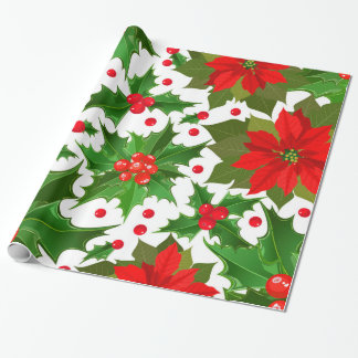 Festive Red Poinsettia Flower & Christmas Holly Wrapping Paper