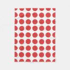 Festive Red Polka Dots on White Fleece Blanket