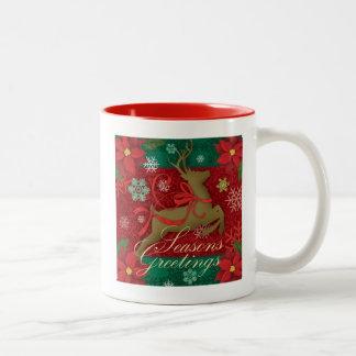 Festive Red Reindeer Holiday Mug,Seasons Greetings Two-Tone Coffee Mug