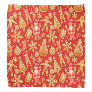 Festive Red Santa and Snowman Gingerbread Bandana