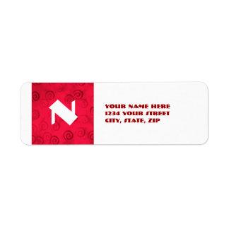 Festive Red Spirals Return Address Label