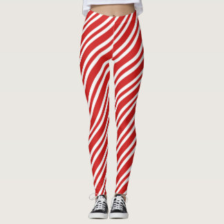 Festive red stripes Christmas Leggings