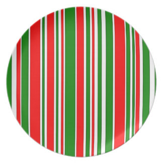 Festive Red, White and Green Stripes Pattern Dinner Plates