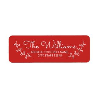 Festive Red with White Laurels Return Address Label