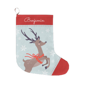 Festive Reindeer Large Christmas Stocking