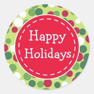 Festive Retro Christmas Dot Happy Holiday Stickers