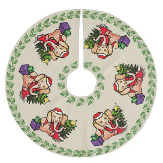 Festive Retro Merry Christmas Santa Elephants Brushed Polyester Tree Skirt