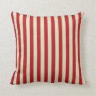 Festive Retro Vintage Vertical PopCorn Stripes Throw Pillow