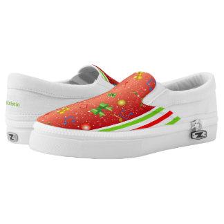 Festive Ribbons Music Notes Slip-On Sneakers