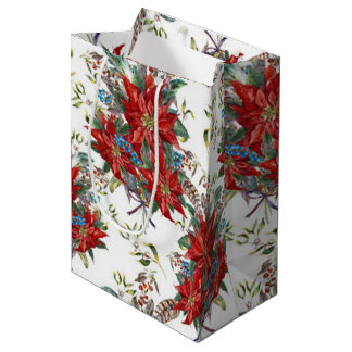 Festive Rich Red Poinsettia flower Gift Bag