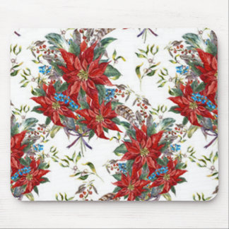 Festive Rich Red Poinsettia flower Mouse Pad