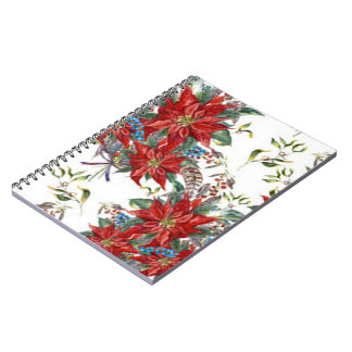 Festive Rich Red Poinsettia flower Note Book