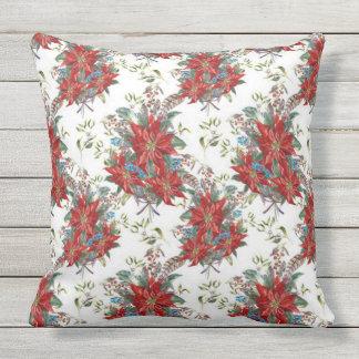 Festive Rich Red Poinsettia Flower Square Pillow
