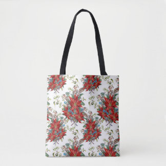 Festive Rich Red Poinsettia flower Tote Bag