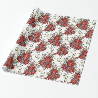 Festive Rich Red Poinsettia flower Wrapping Paper