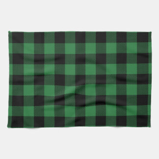 Festive Rustic Green Plaid Pattern Holiday Kitchen Towel