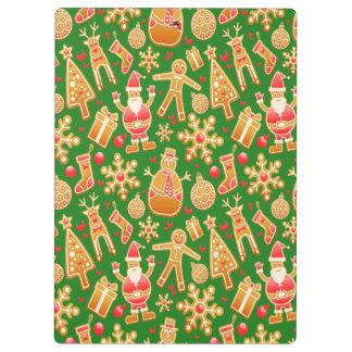 Festive Santa and Snowman Gingerbread Clipboard