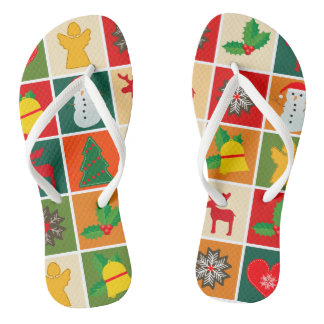 Festive Santa and Snowman Gingerbread Flip Flops