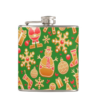Festive Santa and Snowman Gingerbread Hip Flask