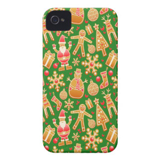 Festive Santa and Snowman Gingerbread iPhone 4 Cases