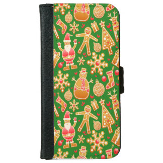 Festive Santa and Snowman Gingerbread iPhone 6 Wallet Case