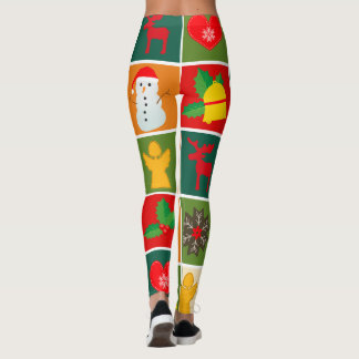 Festive Santa and Snowman Gingerbread Leggings
