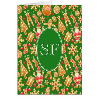 Festive Santa and Snowman Gingerbread Monogram Card