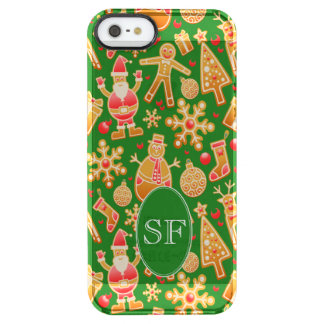 Festive Santa and Snowman Gingerbread Monogram Clear iPhone SE/5/5s Case
