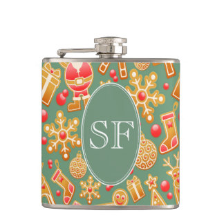 Festive Santa and Snowman Gingerbread Monogram Hip Flask