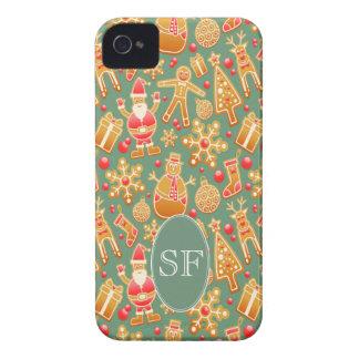 Festive Santa and Snowman Gingerbread Monogram iPhone 4 Cases