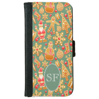 Festive Santa and Snowman Gingerbread Monogram iPhone 6 Wallet Case