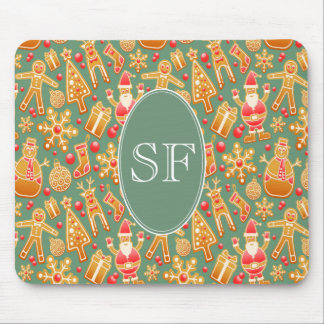 Festive Santa and Snowman Gingerbread Monogram Mouse Pad