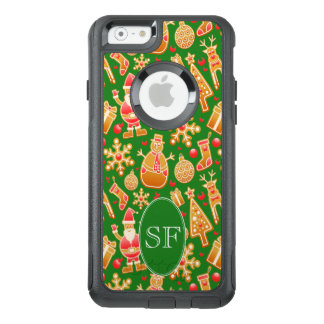 Festive Santa and Snowman Gingerbread Monogram OtterBox iPhone 6/6s Case