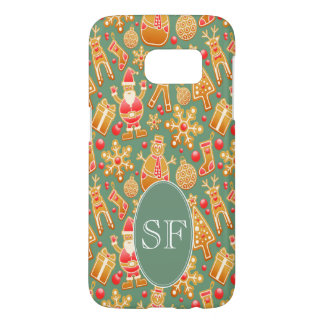 Festive Santa and Snowman Gingerbread Monogram Samsung Galaxy S7 Case