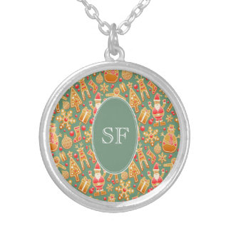 Festive Santa and Snowman Gingerbread Monogram Silver Plated Necklace