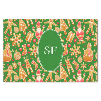 Festive Santa and Snowman Gingerbread Monogram Tissue Paper