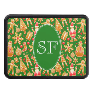 Festive Santa and Snowman Gingerbread Monogram Trailer Hitch Cover
