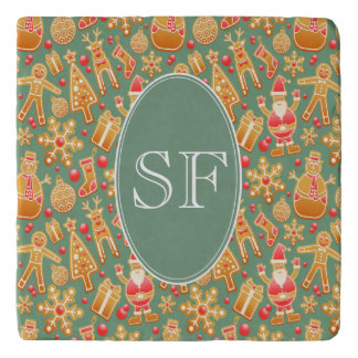 Festive Santa and Snowman Gingerbread Monogram Trivet