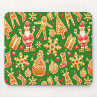 Festive Santa and Snowman Gingerbread Mouse Pad