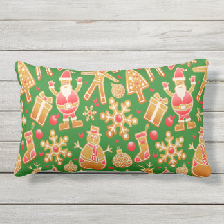 Festive Santa and Snowman Gingerbread Outdoor Pillow