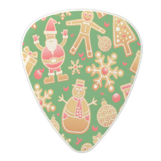 Festive Santa and Snowman Gingerbread Polycarbonate Guitar Pick