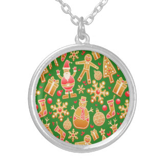 Festive Santa and Snowman Gingerbread Silver Plated Necklace